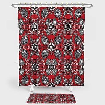ed94a830bd24 Amazon.com: iPrint Red Mandala Shower Curtain And Floor Mat ...