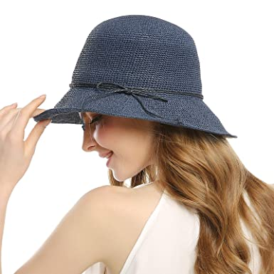 WELROG Sun Hat Straw Hats - Women s Garden Hat Foldable Summer Beach Basin  Hat - Blue 95a69f2bc3b
