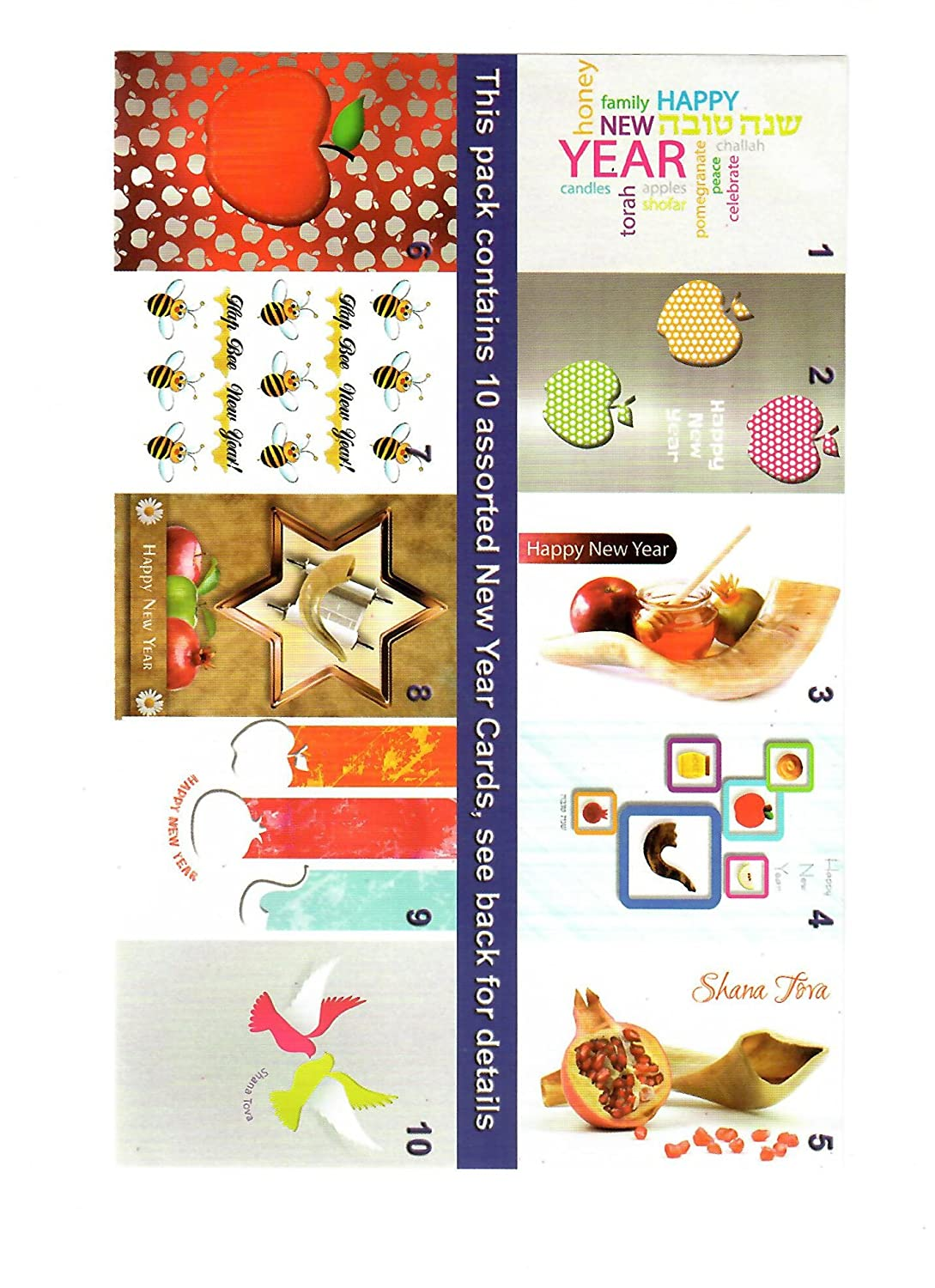 Assorted Jewish New Year Greeting Cards With Envelopes Pack Of 10