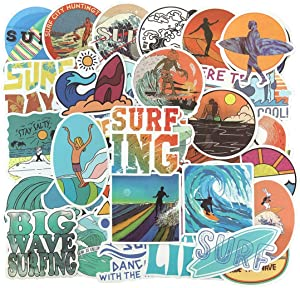 Beach Cool Surfing Sports Stickers, 50PCS Surfboard Stickers Laptop Stickers Pack Waterproof Decals for Water Bottle Laptops Cars Luggage Personal Computer