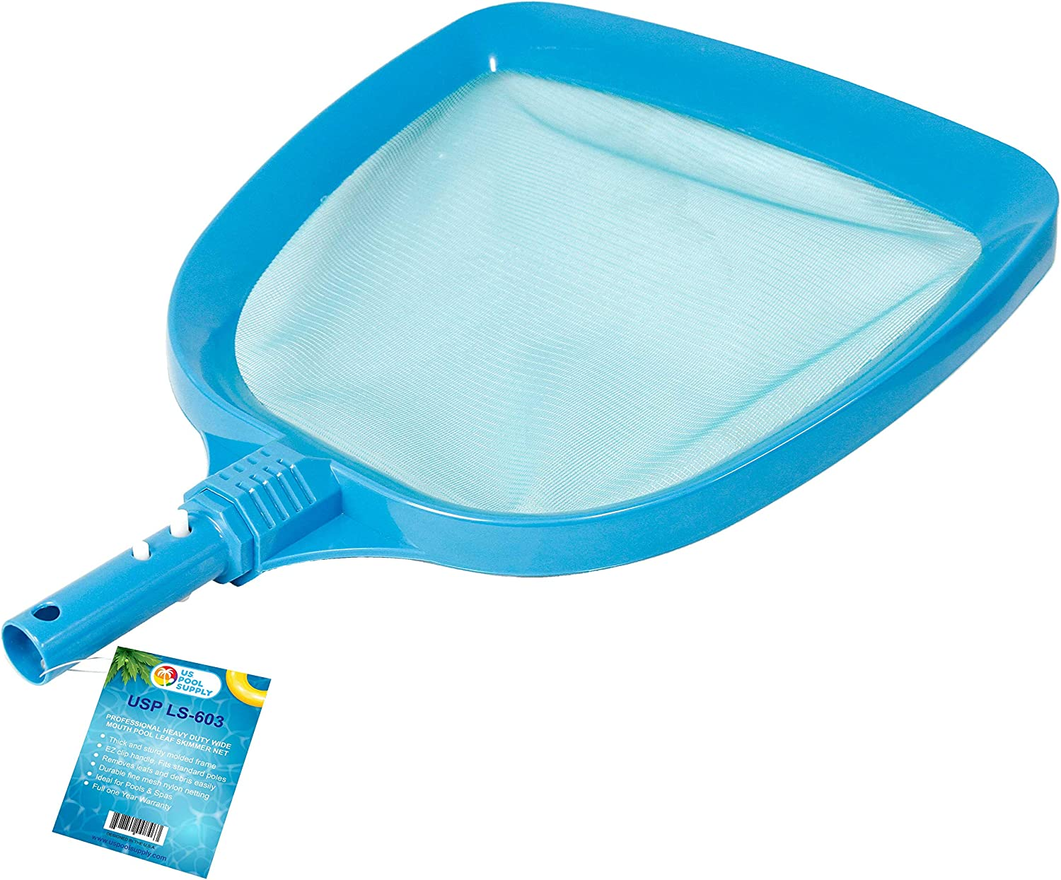 """U.S. Pool Supply Professional Heavy Duty Large 15"""" x 16"""" Swimming Pool Leaf Skimmer Net - Wide Mouth Scoop Design for Faster Cleaning and Easier Debris Pickup and Removal - Safe EZ Clip Handle"""