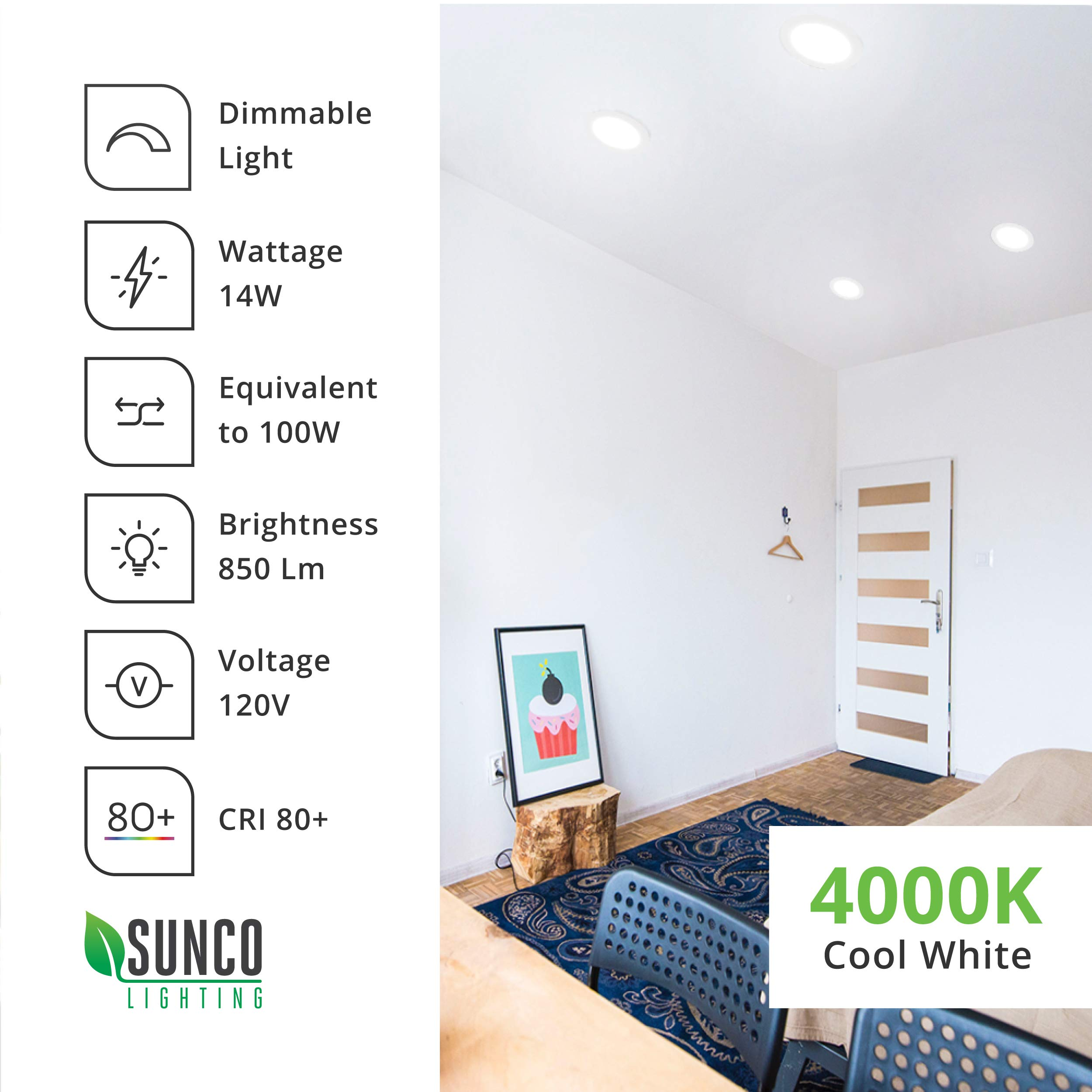 Sunco Lighting 12 Pack 6 Inch Slim LED Downlight with Junction Box, 14W=100W, 850 LM, Dimmable, 4000K Cool White, Recessed Jbox Fixture, Simple Retrofit Installation - ETL & Energy Star by Sunco Lighting (Image #9)