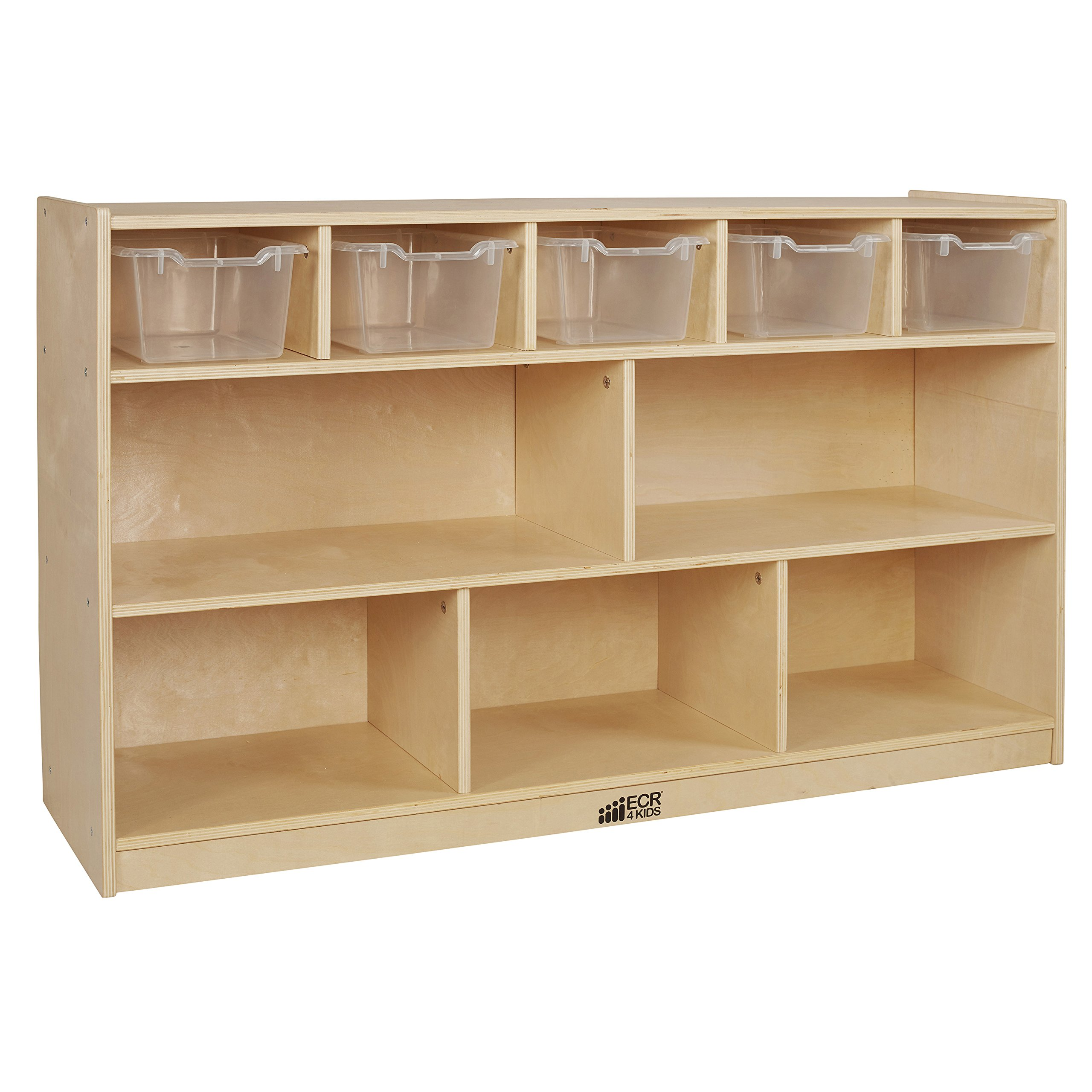 ECR4Kids Birch 5+5 Storage and Tray Cabinet with 5 Scoop Front Bins, Clear