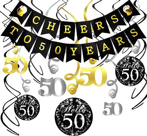 Konsait Saludos a 50 años cumpleaños Bandera Banderines, 50 cumpleaños Negro Colgar Remolino decoración para Fiesta de Cumpleaños de 50 Años Decoraciones: Amazon.es: Juguetes y juegos