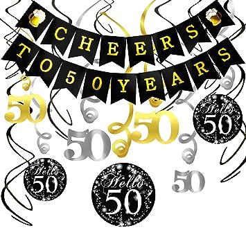 Konsait Saludos a 50 años cumpleaños Bandera Banderines, 50 cumpleaños Negro Colgar Remolino decoración para Fiesta de Cumpleaños de 50 Años ...
