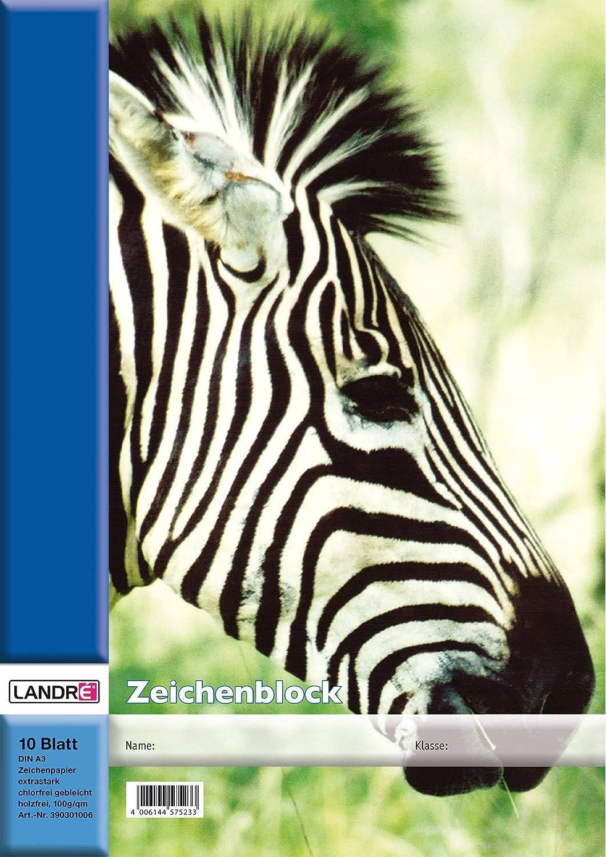 LANDRE 100050438 Zeichenblock 20er Pack A4 10 Blatt 100 g//m/² Zeichen-Karton geheftet 4 Tier-Motive sortiert Zeichenpapier