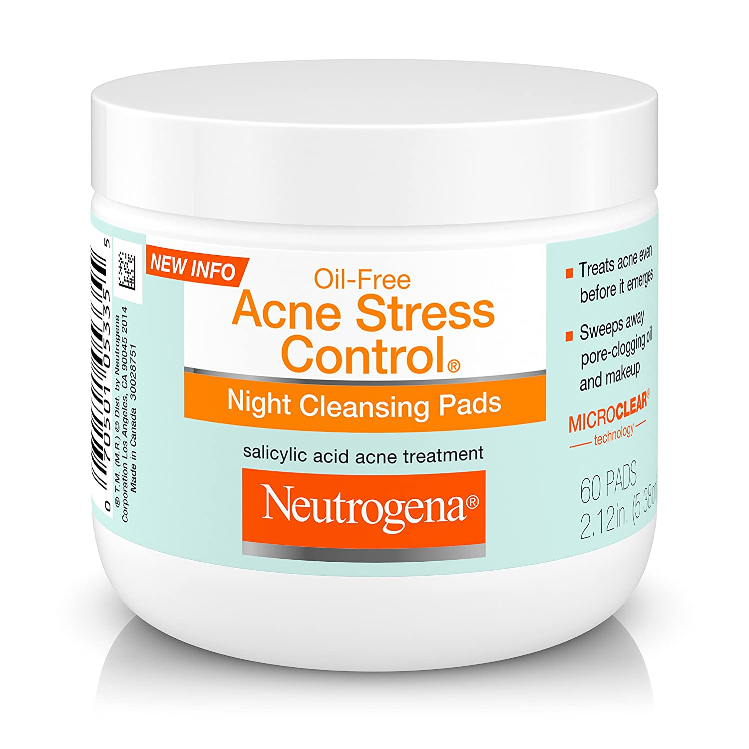 Neutrogena Oil-Free Acne Stress Control Night Cleansing Pads, 60 Count 070501053355