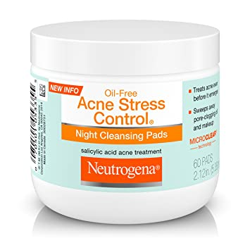 Amazon.com : Neutrogena Oil-Free Acne Stress Control Night Cleansing Pads with Maximum-Strength Salicylic Acid Acne Medicine, 60 ct.