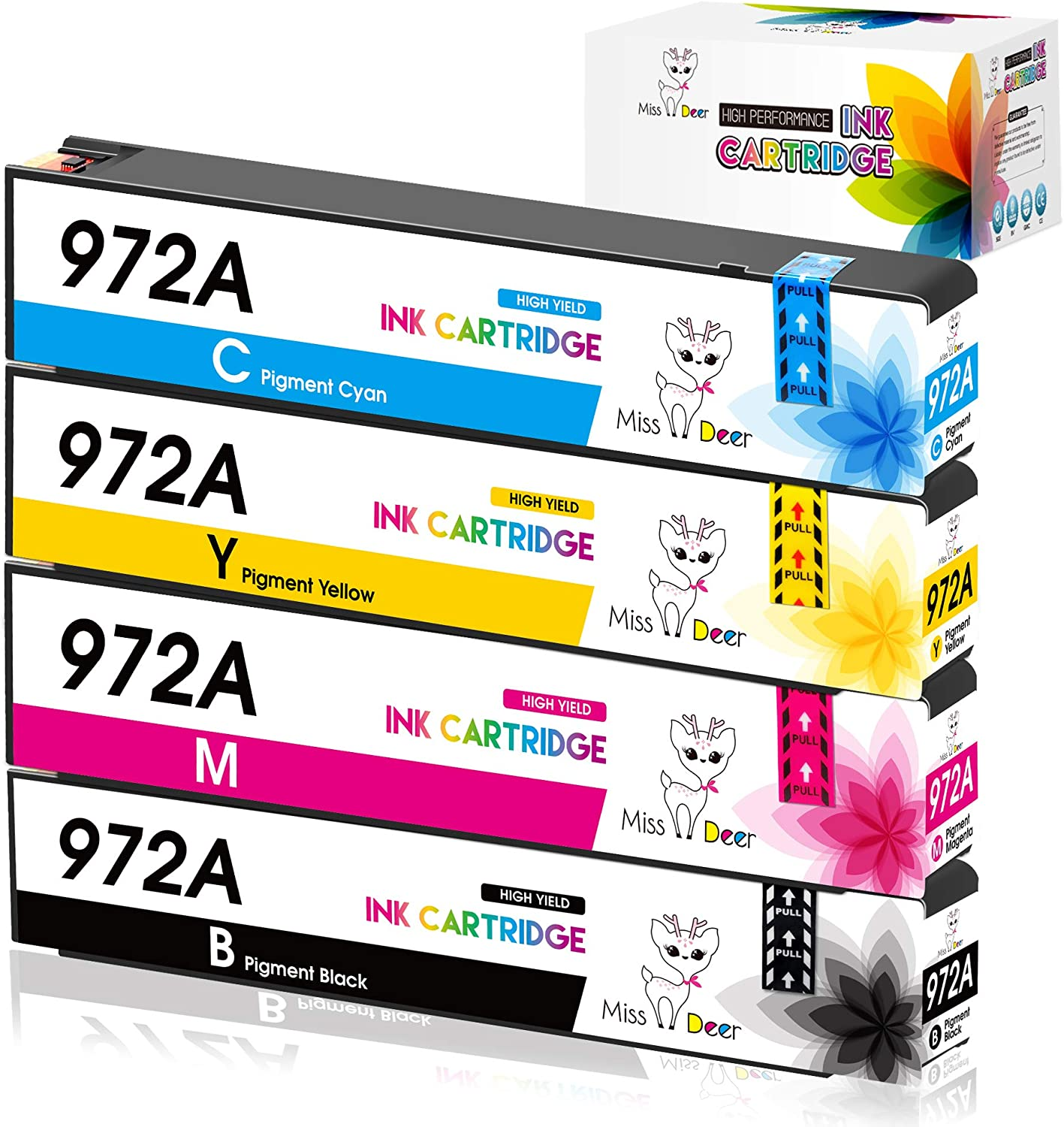 Miss Deer 972A Compatible Ink Cartridges Replacement for HP 972 972A(Upgraded Chip),Work with PageWide 377dw, PageWide Pro 477dn, 477dw 577dw 577z 552dw 452dn 452dw Printers, 4 Pack(1BK 1C 1M 1Y)