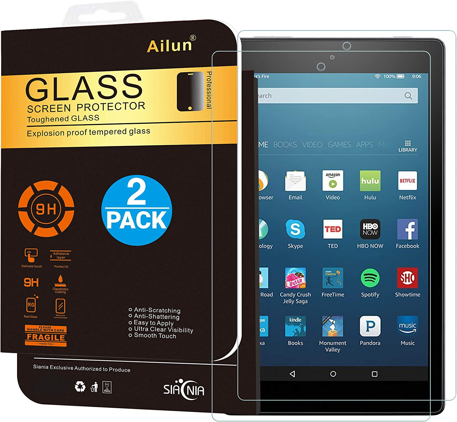 Genuine Tempered Glass Screen Protector For Amazon Kindle Fire HD 8 2018 8th Gen