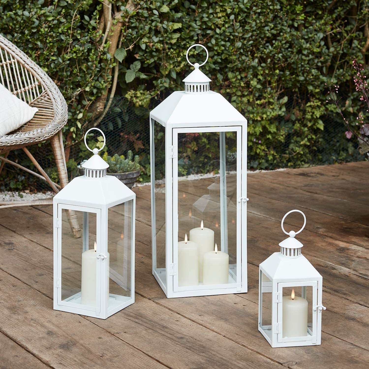 Lights4fun Set Of 3 Outdoor Large Floor Lanterns White Metal Truglow Led Candles Timer Amazon Co Uk Lighting