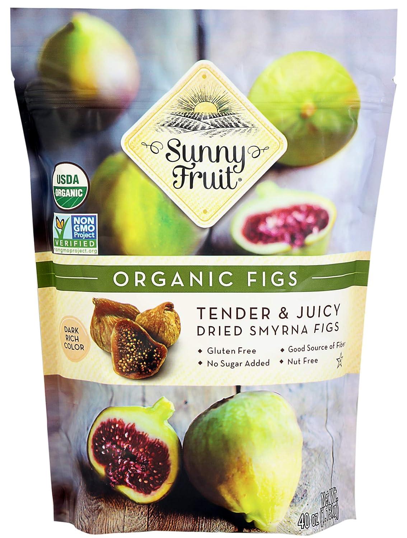 ORGANIC Rehydrated Dried Smyrna Figs - Sunny Fruit - 40oz Bulk Bag | Tender & Juicy - NO Added Sugars, Sulfurs or Preservatives | ALLERGEN-FRIENDLY, VEGAN, KOSHER & HALAL