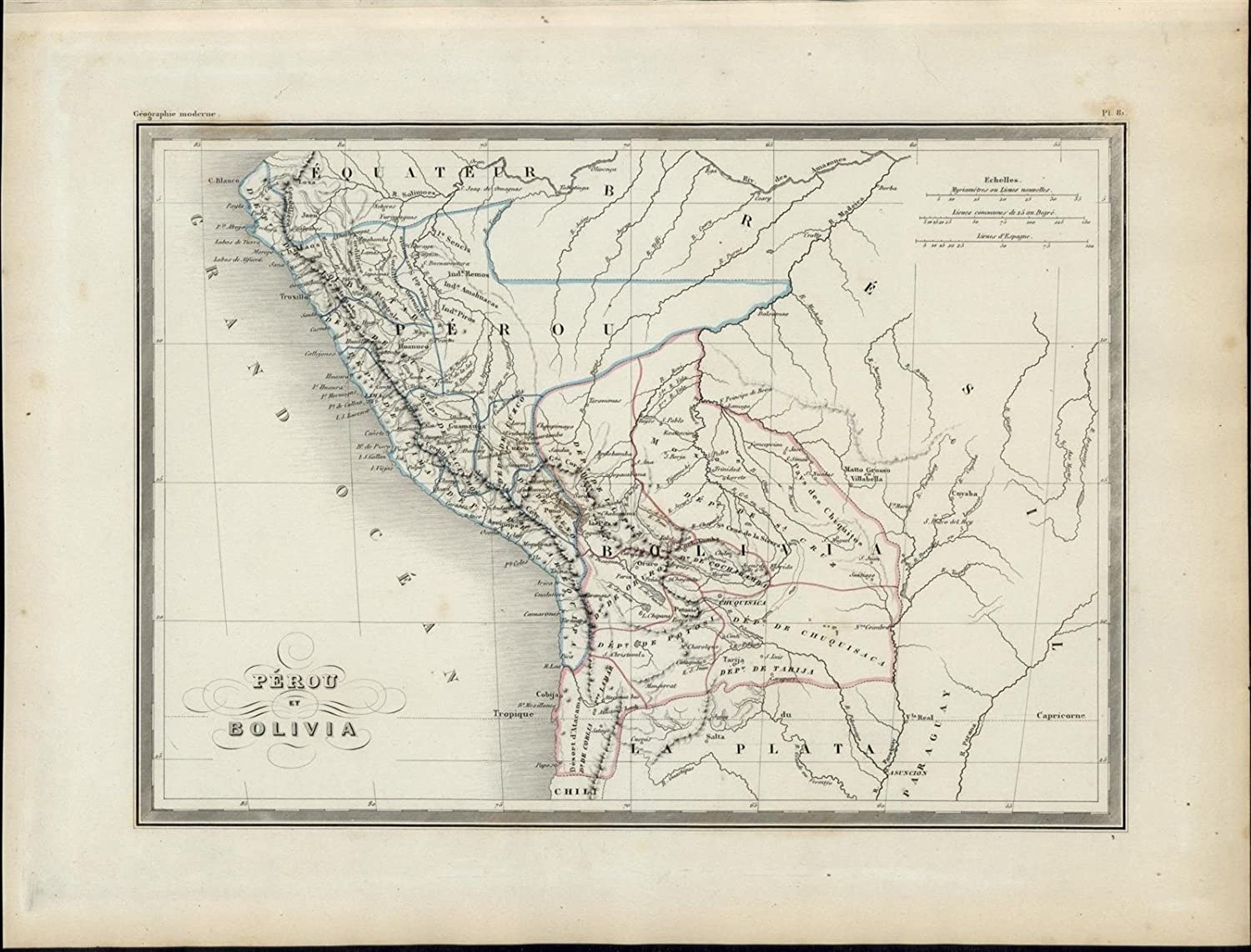 Andes Mountains Peru Map.Peru Bolivia Rivers Andes Mountain Range Nice 1846 Uncommon Antique