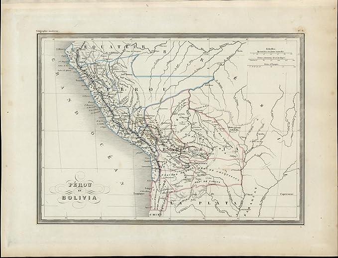 Peru Bolivia Rivers Andes Mountain Range nice 1846 uncommon ...
