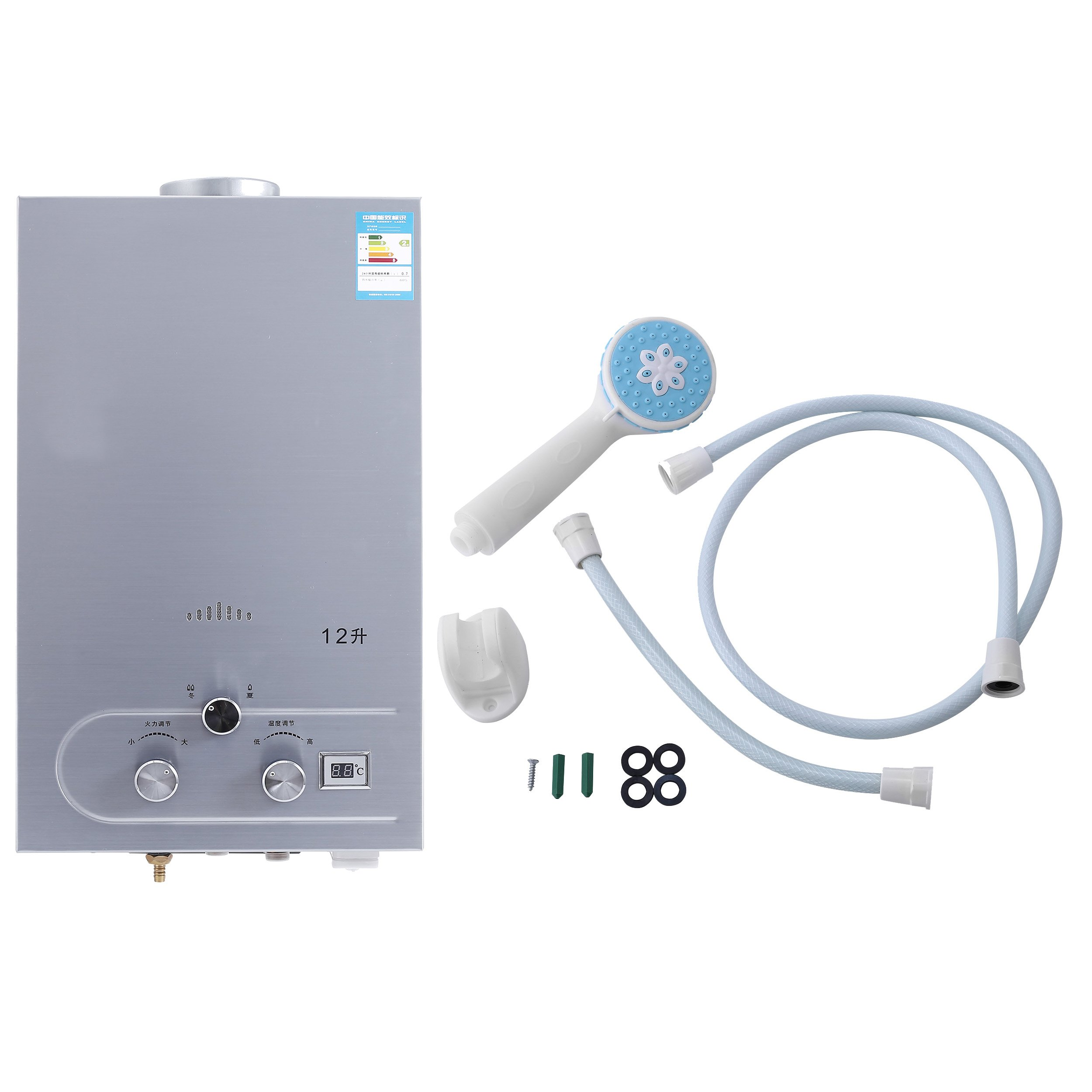 Happybuy 12L CNG Outdoor Portable Propane Tankless Water Heater 3.2GPM Natural Gas Water Heater Stainless Steel Propane Hot Water Heater (12L)