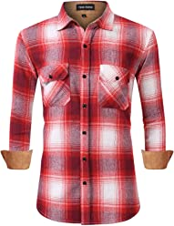 c73a4a1607f1 Yong Horse Mens Classic Fit Long Sleeve Button Down Flannel Plaid Shirts  with 2 Chest Pockets