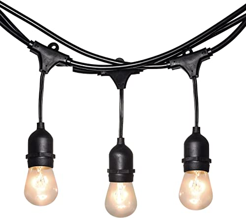 Light Tech Waterproof Outdoor String Lights Hanging Vintage 11W Edison Bulbs 50 Foot Bistro Lights Ideal Illumination for Backyard and Patio