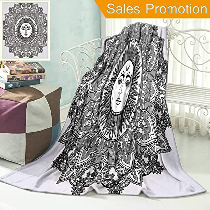 Power Source Replacement Batteries Custom Soft Fleece Throw Blanket Mandala Decor Sun Goddess Illustration Yantra Mandala Art Ethnic Indian Floral Pattern Boho