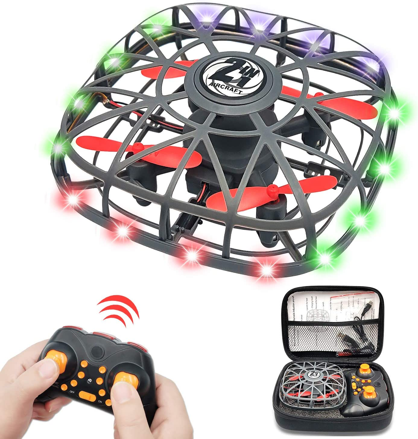 FLORLD UFO Drone Kids Flying Toys, LED Hand Opeared & RC Drone 2 Operating Modes Motion Sensor Flying Balls Gifts for 6 7 8 9 10+ Years Old Boys Girls Adults, Black