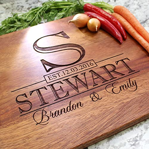 Classic monogram wedding personalized cutting board engraved cutting board custom cutting board wedding