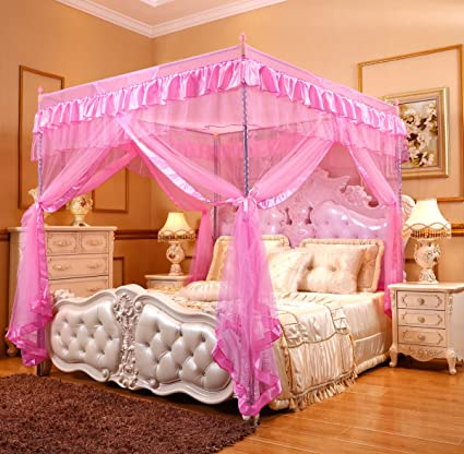 Mengersi Princess 4 Corners Post Bed Curtain Canopy Mosquito Netting (Pink,  Full)