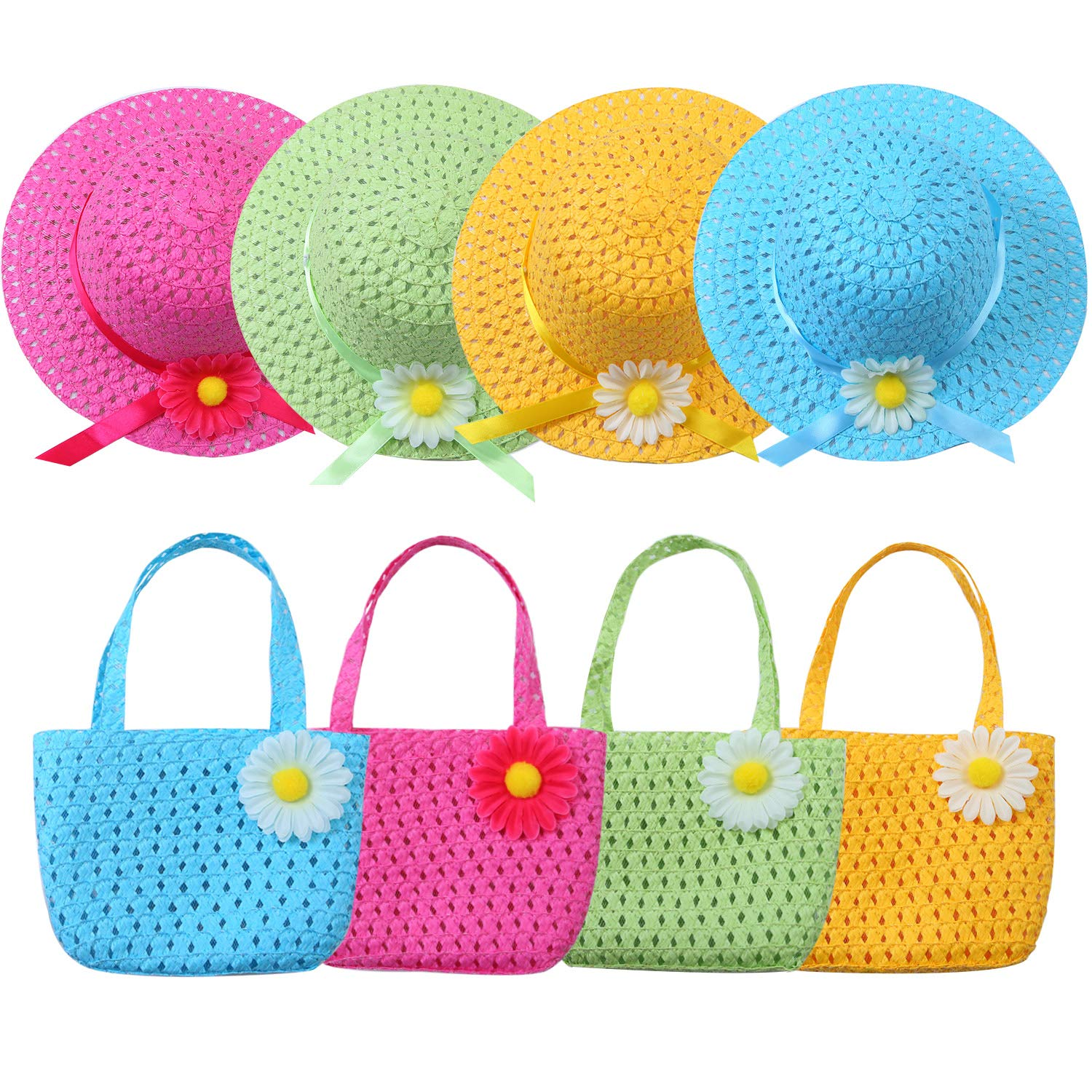URATOT 4 Sets Girls Tea Party Hats Purse Kids Daisy Flower Sun Straw Hat and Purse Sets Party Supplies Accessories 4 Purses and 4 Daisy Flower Sunhats, 4 Colors