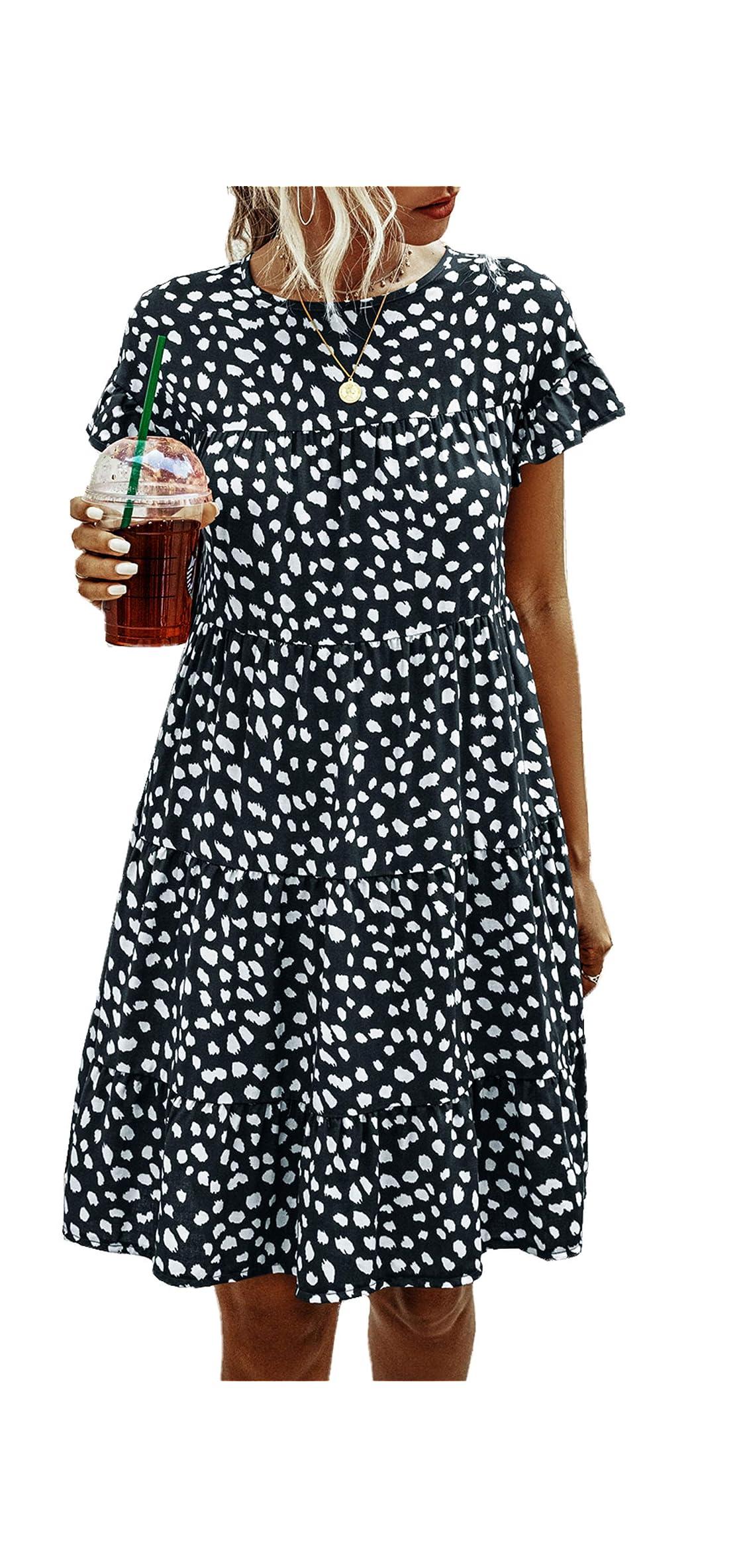 Womens Summer Tunic Dress Round Neck Short Sleeve