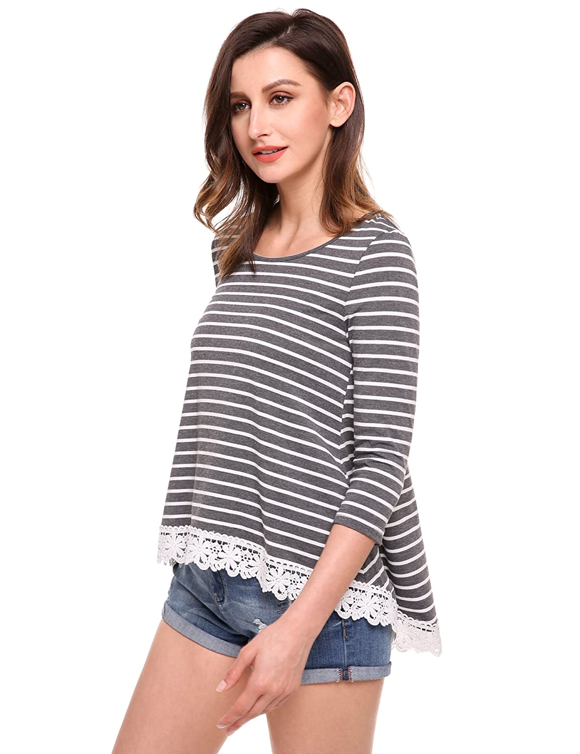 Meaneor Women's O Neck 3/4 Sleeve Casual Loose Striped Cotton Tunic Tops AMH010642