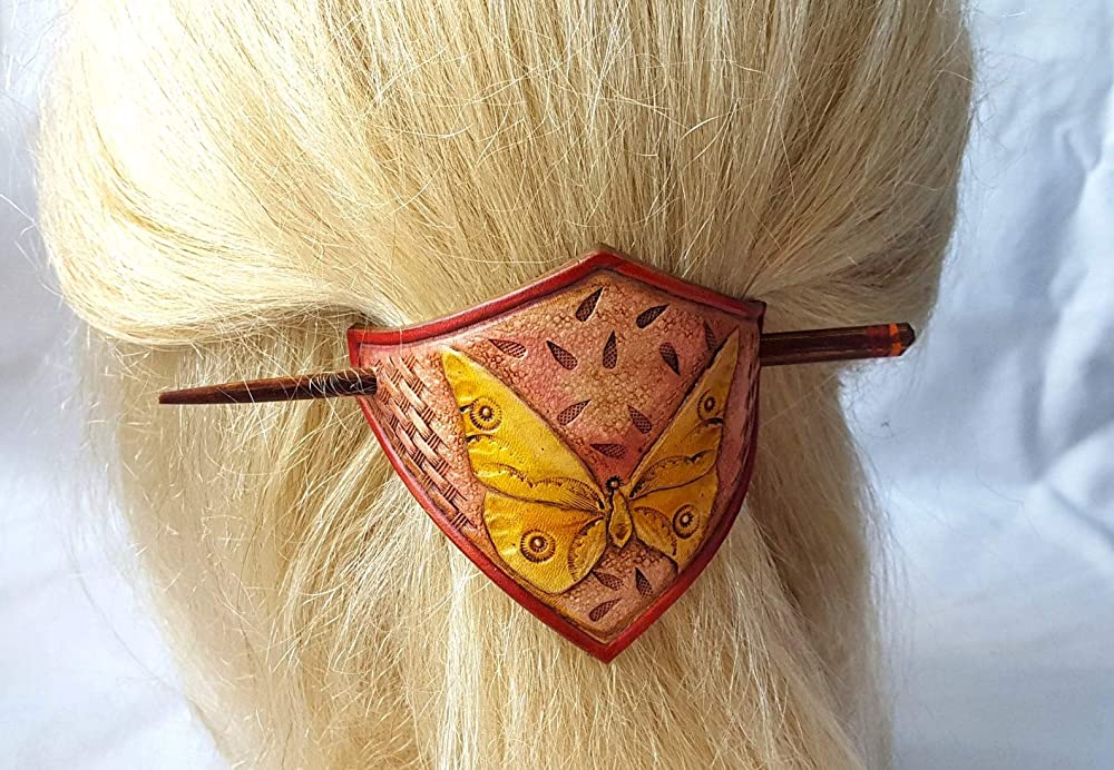 the look of the butterfly pattern Tooled leather hair Barrette