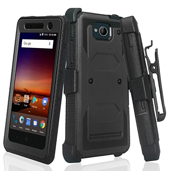 new styles 69f0f 65bae SOGA Cover Compatible for ZTE Majesty Pro Case, ZTE Tempo Case [TriGuard]  Shockproof Rugged Hybrid Armor Case Cover with Belt Clip Holster & Built-in  ...