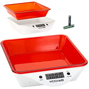 WeighAid Precision 5kg Food Scales Digital Weight Grams and Oz for the Kitchen, Hobby or Jewelry, Red Removable Tray, Accurate, Easy to Use and Clean, FDA Approved Tray, Batteries Incl, Touch Control