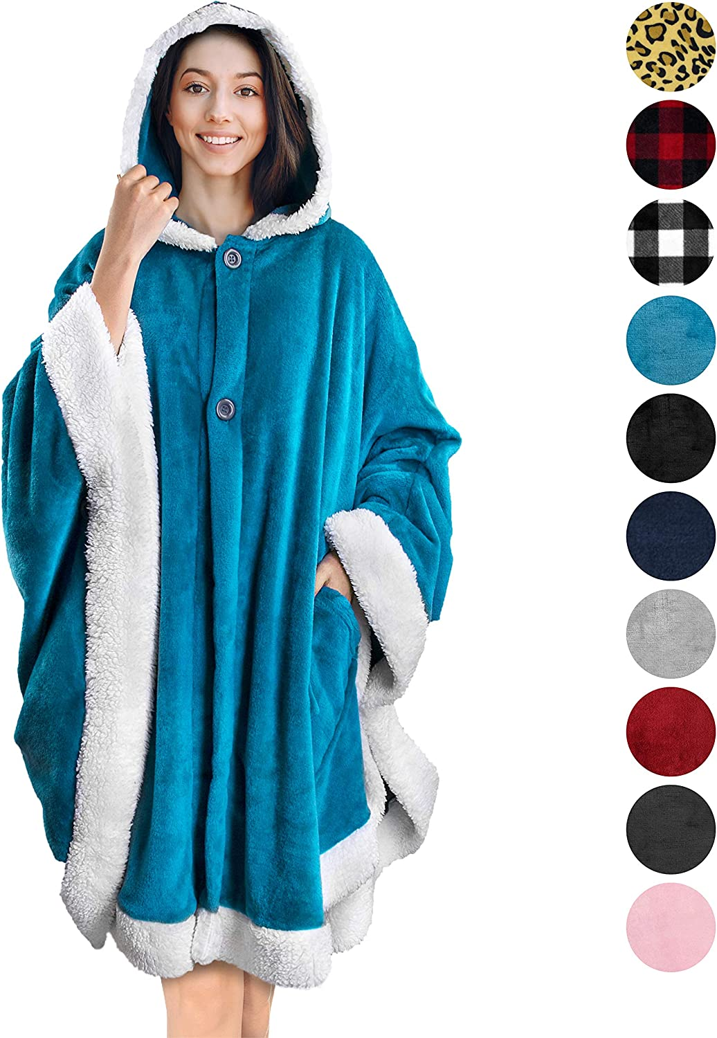 PAVILIA Angel Wrap Hooded Blanket | Poncho Blanket Wrap with Soft Sherpa Fleece | Plush, Warm, Wearable Throw Cape with Pockets for Women Gift (Sea Blue)