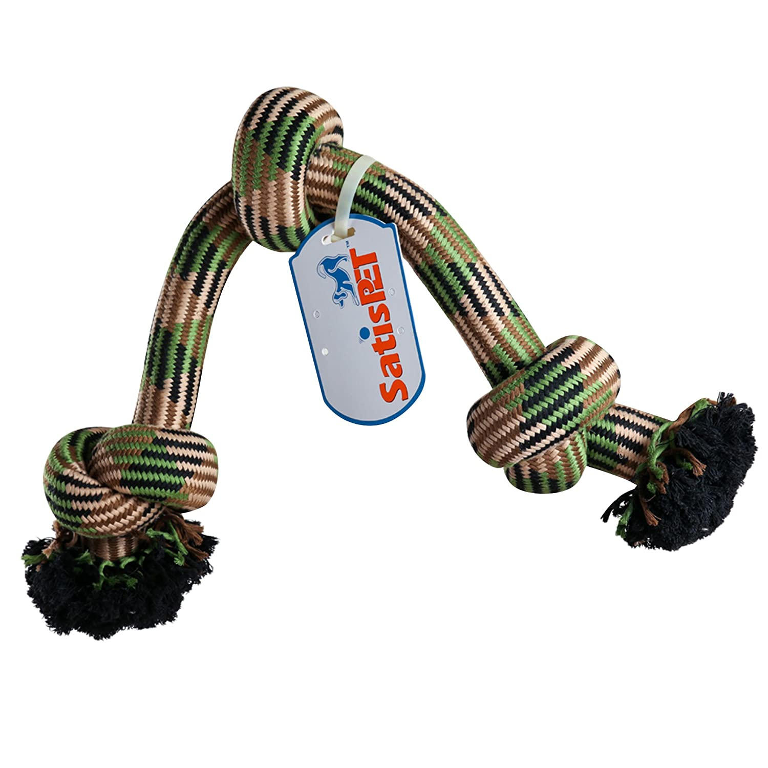 Pet Supplies SatisPet Chew Rope Tug Toy with Three Knots for
