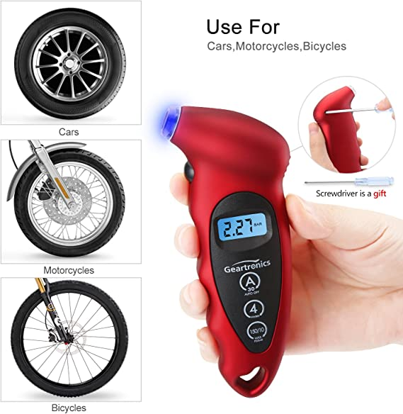 Get Your Tire Pressure Within Seconds Techville Fast Read Digital Tire Pressure Gauge Up to 150 PSI 4 Settings for Car Truck Bicycle with Back-lit LCD and Non-Slip Grip
