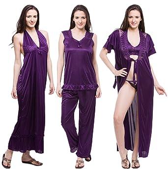 Fasense Satin Nightwear 6 Pcs Set of Nighty Robe Top Pajama Bra & Thong DP114 Nightdresses & Nightshirts at amazon