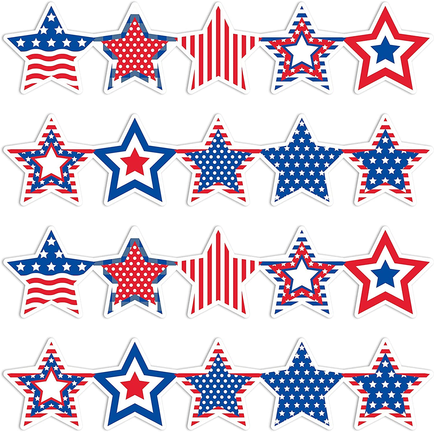 Whaline 68Ft 4th of July Scalloped Bulletin Board Border 60pcs Patriotic Red Blue White Stars Border Sticker 2 Design Self-Adhesive Stars Stripes Trim Border Decor for Independence Day Classroom