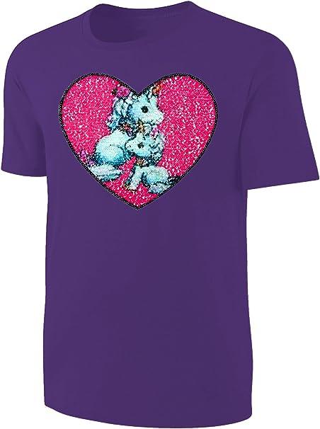 Mädchen T-Shirt Einhorn Pailletten Shirt Lila