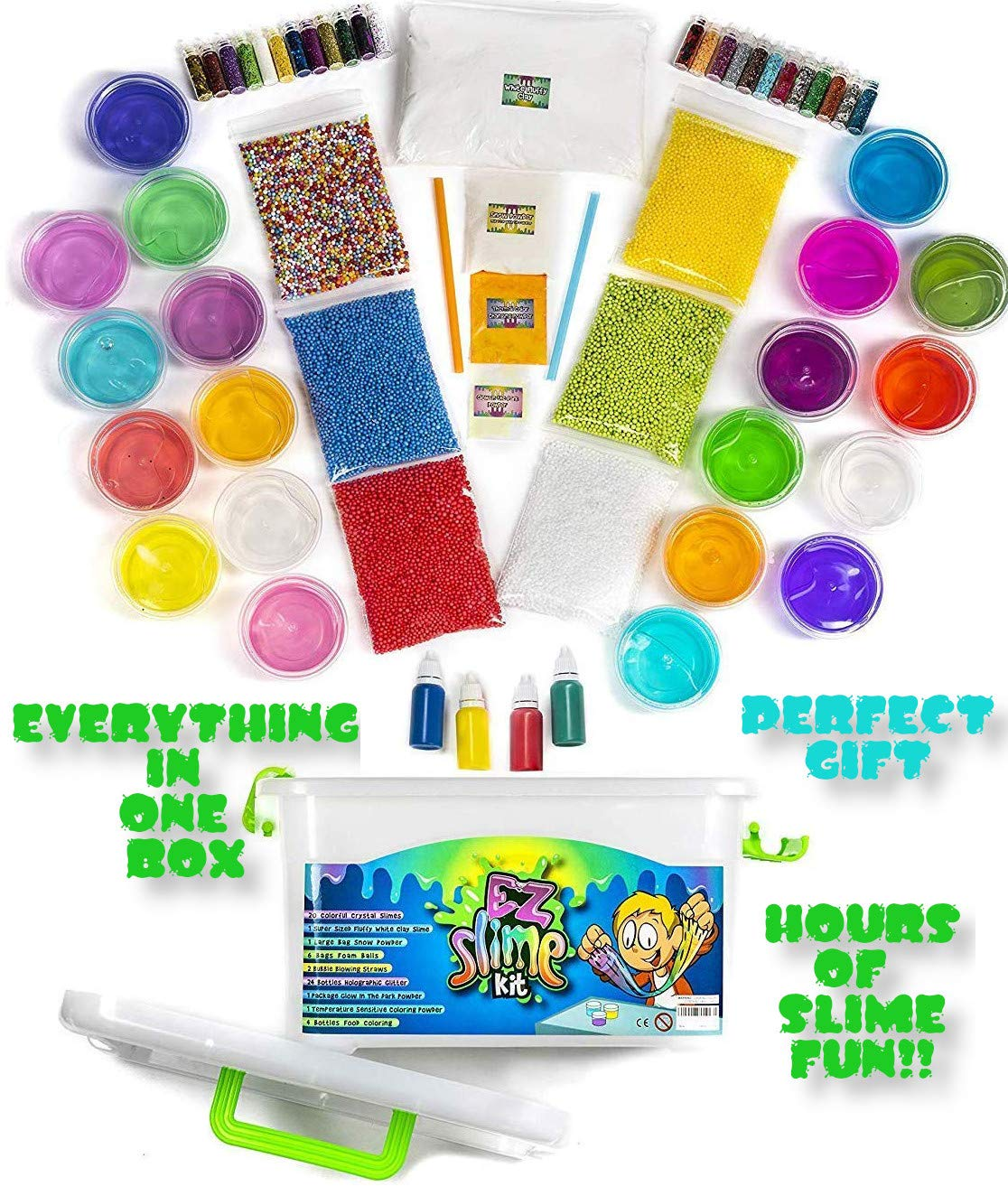 EZ Slime Kit- Boys Girls Everyone. Crystal Slime, Fluffy Clay Slime, Fake Snow, Glow Powder, Thermal Powder, Foam Beads, Glitter, Plus More. 60 Piece Kit. Over 3 Pounds by EZ Slime Kit (Image #2)
