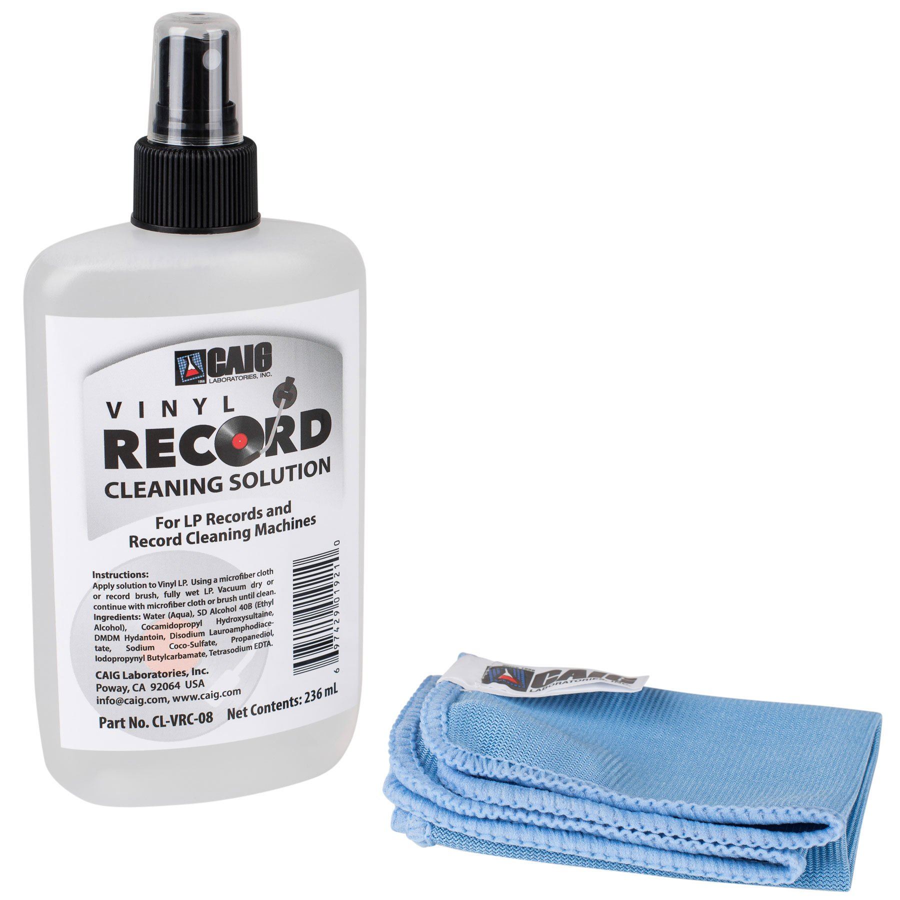 CAIG CL-VRC-08 Vinyl Record Cleaner with Microfiber Cloth 7.98 oz.