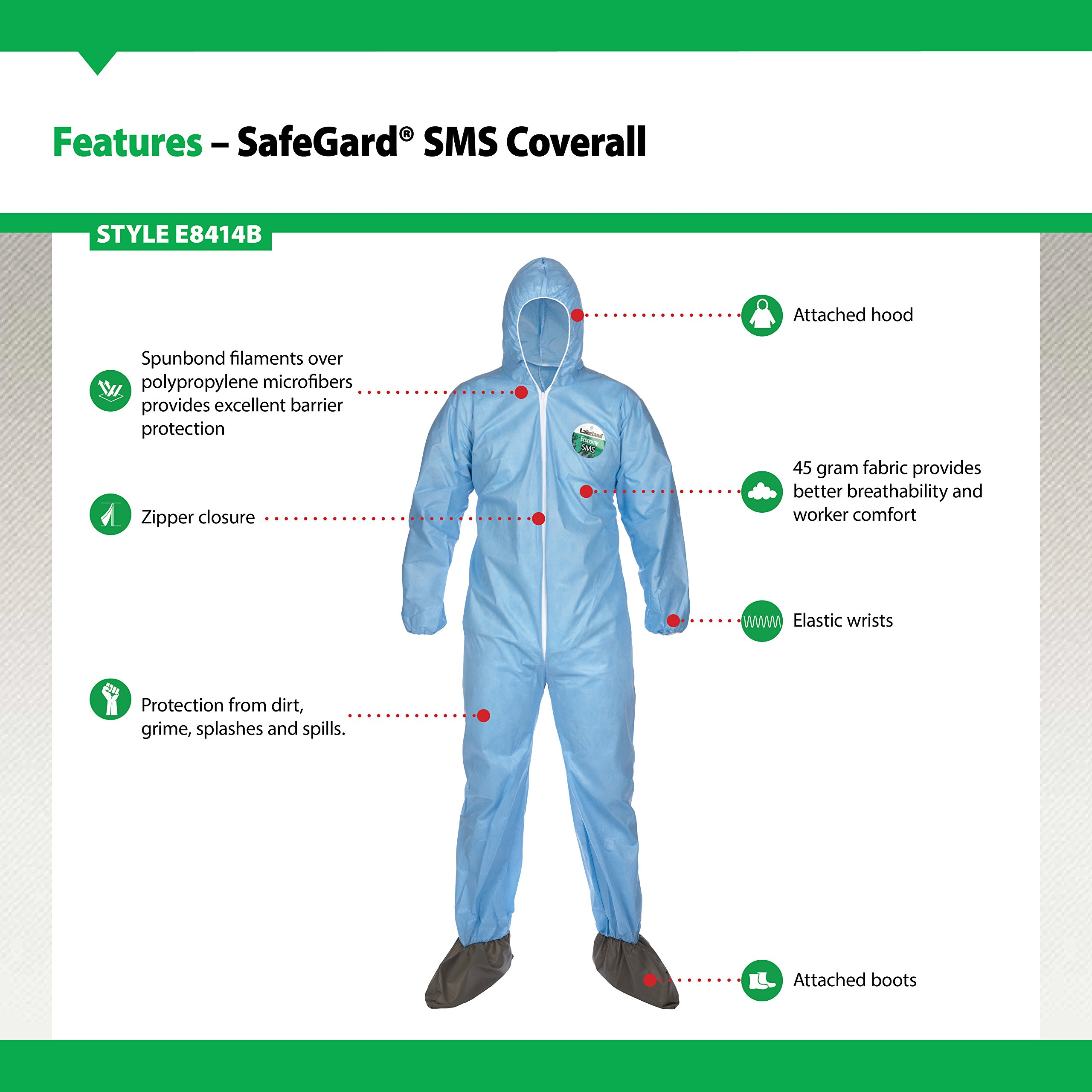 Lakeland SafeGard Economy SMS Coverall with Hood and Boots, Disposable, Elastic Cuff, 2X-Large, Blue (Case of 25) by Lakeland Industries Inc (Image #3)