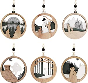 Joiedomi 6 Pcs Wooden Christmas Ornaments Hanging Santa, Snowman, Reindeer Ornaments for Indoor/Outdoor Holidays, Party Decoration, Tree Ornaments, Events, and Christmas