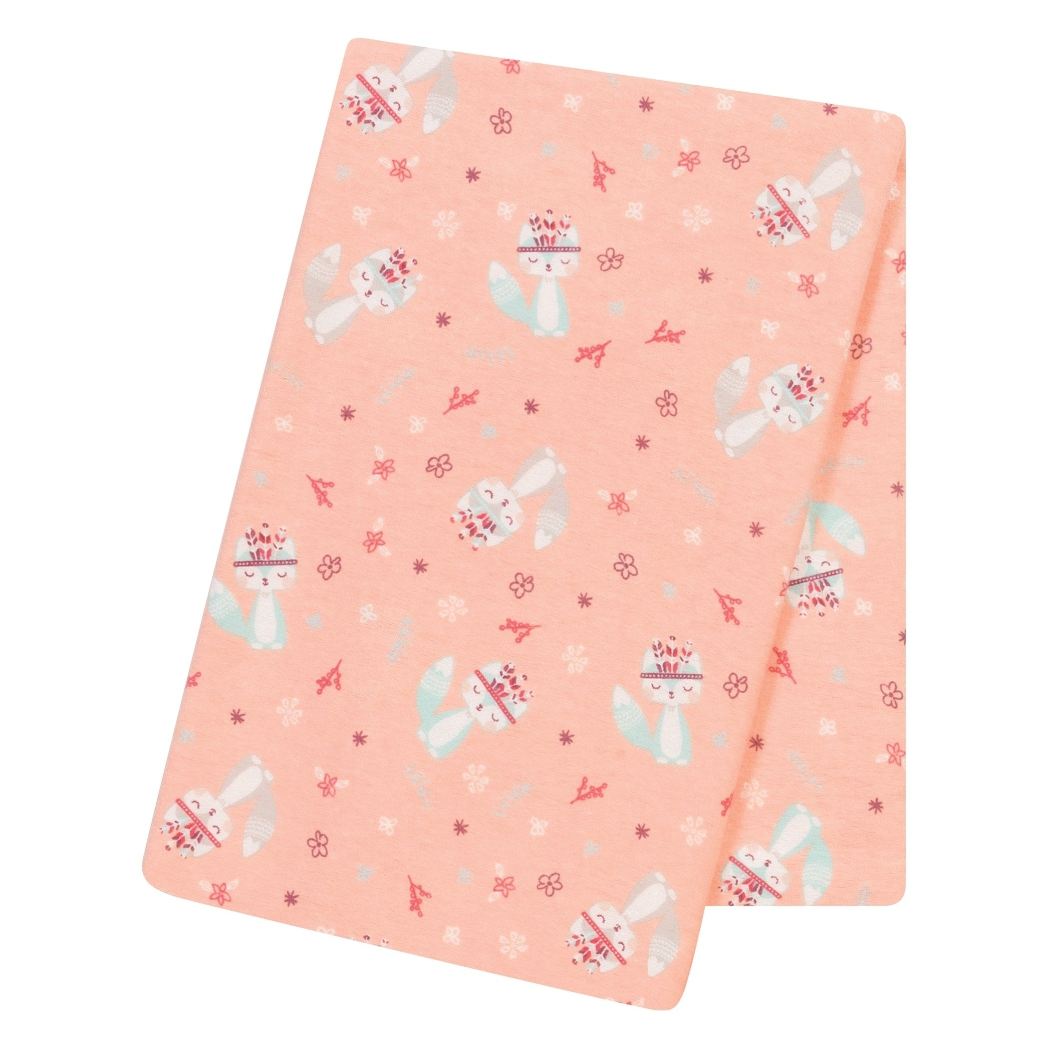AM 1 Piece Baby Girls Coral Pink Fox and Flowers Deluxe Flannel Crib Blanket, Newborn Salmon Paisley Nursery Bedding, Floral Forest Woods Nature Animals Swaddle Cozy Soft Cute Adorable, Cotton