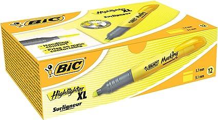 Bic Brite Liner XL - Subrayador (10 unidades), color amarillo: Amazon.es: Oficina y papelería