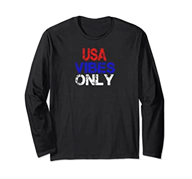 547c0090490dad Unisex USA Vibes Only Red White Blue Freedom Long Sleeve Shirt Small Black
