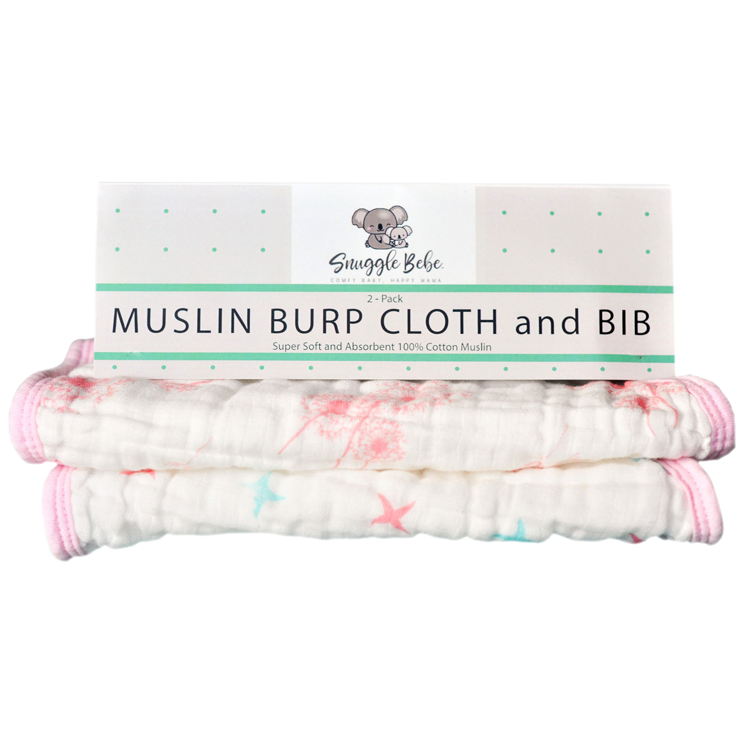 Baby Burp Cloths and Bibs Set for Girls - 2 Pack - Large, Absorbent, Soft 100% Cotton Muslin Burping Cloths for Newborns, Infants and Teething Toddlers - Snuggle Bebe