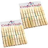 Crispy Deals Wooden Clips Bamboo Cloth Pegs, 3-inch(Brown) - Set of 40