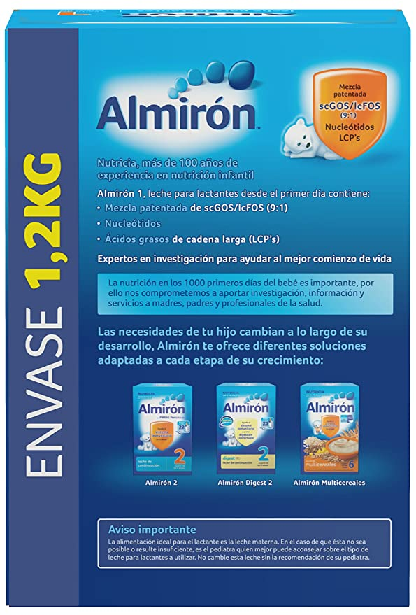 Almirón 1 Leche de inicio en polvo a partir del primer día - 1,2 kg: Amazon.es: Alimentación y bebidas