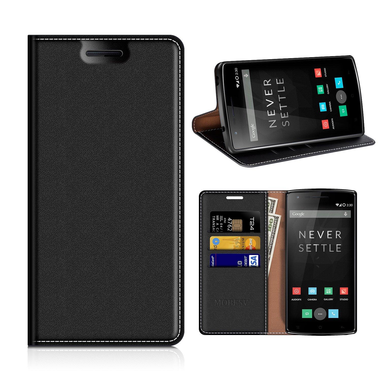 MOBESV Funda Cartera OnePlus One, Funda Cuero Movil OnePlus One Carcasa Case con Billetera/Soporte para OnePlus One (OnePlus 1) - Negro