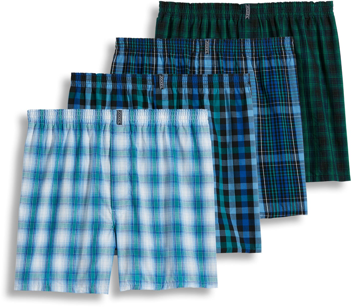 Jockey Men's Underwear Classic Full Cut Boxer - 4 Pack (Large, assorted blues) by Jockey
