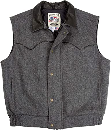 Schaefer Outfitters Mens Vests Ranchwear 715 Competitor Vest in Wool with  Full Grain Leather Collar at Amazon Men's Clothing store